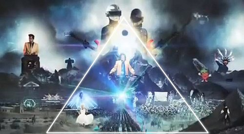 The tableau conceals a pyramidal shape (which I highlighted with white lines). At the base are dancers (or the masses) and at the top is an illuminated capstone and a solar eclipse acting as the eye in the pyramid (the most recognizable Illuminati symbol.