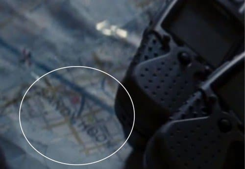 The words &quot;Sandy Hook&quot; appearing on a map during The Dark Knight Rises.