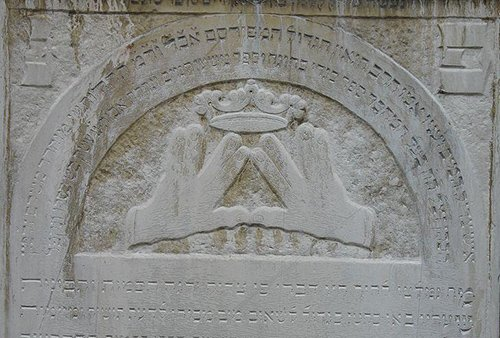 In Judaism, the gesture is known as Kohanim hands or Priestly Blessing. It is depicted on 18th Century grave.