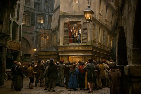 In the movie Les Miserables, the symbol of the All-Seeing Eye (cleverly placed as the logo of an optician) appears in a prominent fashion while the revolution was brewing. In some scenes (not pictured here), the eye is actually more prominent than the characters. Considering the fact that the Bavarian Illuminati was an important factor in the French Revolution, the presence of this symbol is a reminder of what truly went on - for those in the know.