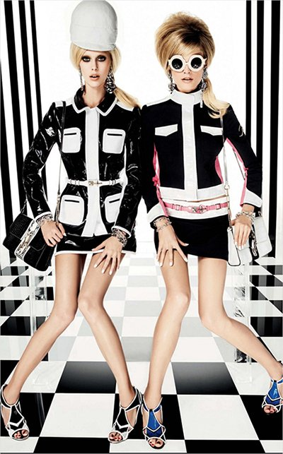 Two identical models looking robotic and lifeless on a Masonic floor and stripes on the wall? Yup, that's MK.