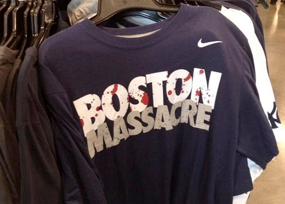 """This shirt was on sale in the Boston area shortly before the Boston bombings. When asked why the shirt was still on sale AFTER the bombing, an employee of that store said """"they keep reappearing back on the shelves"""". While the shirt is made to refer to the rivalrly between the Yankees and the Red Sox, this odd """"premonition"""" is reminiscent of Oscar Pistorius' Nike ad entitled """"I am the bullet in the chamber"""", which appeared before he got charged for the murder of his girlfriend."""