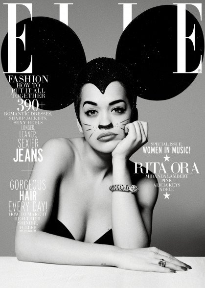 """Speaking of Disney, I described many times how Mickey Mouse ears are """"codes"""" for MK Mind Control as they refer to """"Disney Programming"""". Here's Rita Ora on the cover of ELLE wearing gigantic ears and not looking too pleased by it."""
