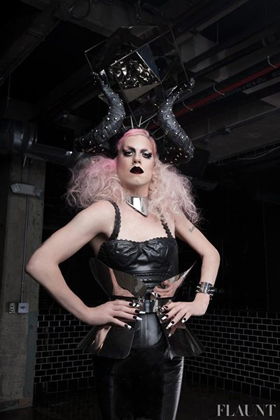 """This Flaunt magazine photoshoot features Sharon Needles who was crowned """"America's Next Drag Superstar"""". The name of the photoshoot? """"Hail Satan"""". Her's Sharon sporting Devil horns."""