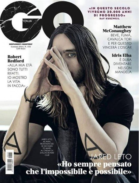 Here's Jared Leto (a regular at SPOTM) doing a triangle with his hands and conveniently hiding one eye with it.