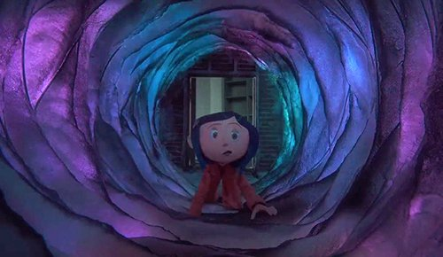 "However, at night, Coraline is ""magically"" lead back to the door and she finds out that it leads to a whole other world."