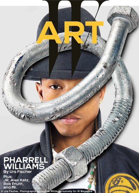 Here's Pharrell Williams in W magazine with one eye hidden by a twisty-screw thingie. I guess they're running out of ways to hide one eye.