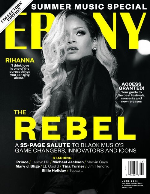 """Apparently, Rihanna is the """"rebel"""" ... probably because he does exactly what she is told by her handlers.  In this case, she was told to stand still while her hair hides one eye."""