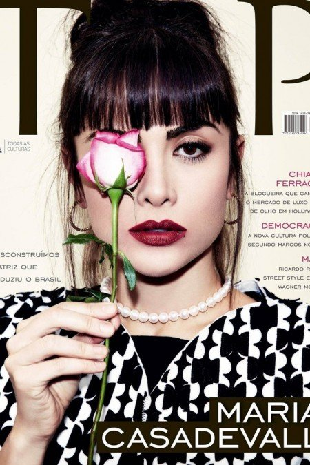 Another magazine cover, another one-eyed salute. Remember that all of these magazine covers were released in the past few weeks. This is Brazilian actress Maria Casadevall on the cover of Top Magazine.