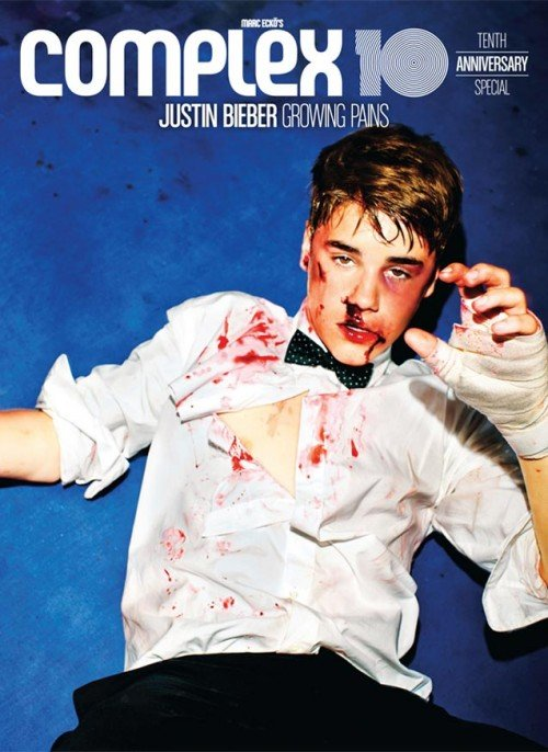 In a previous issue of Complex, Bieber's photoshoot was about him taking a serious beating. I don't know of too many artists being constantly portrayed in that manner.