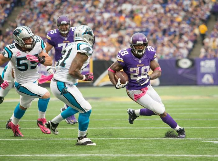 Adrian Peterson carries the ball against the Carolina Panthers.