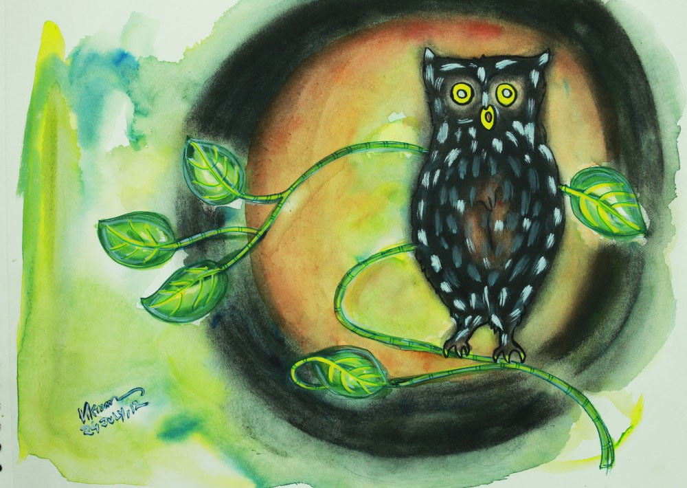 The Owl: A Painting! Mix Medium: Water Colour and Charcoal by Vikram Roy