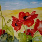 image of red poppies on a yellow field by Fran Gilleland