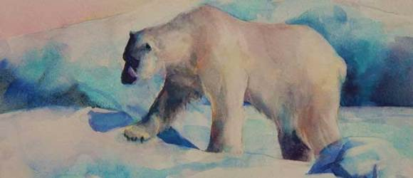 image of polar bear watercolor by Mary Burgess