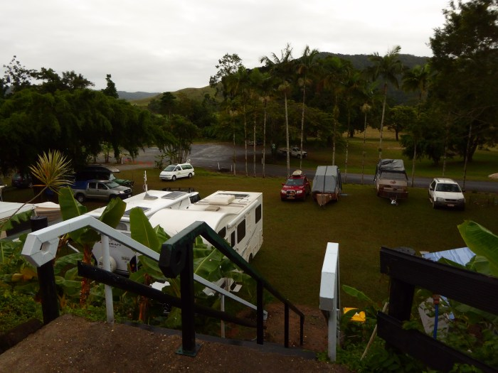Daintree Village Caravan Park with the stairs that gives a lot of troubles to the aged people