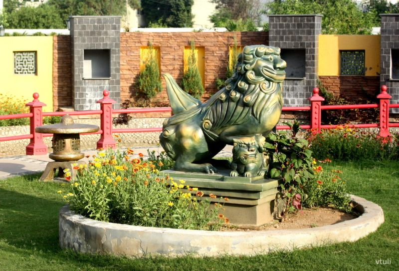 Lion Dog with a Cub - Japanese Garden Chandigarh