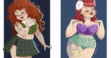 Толстенькие принцессы из мультфильмов компании Дисней от художницы Эшли Биверс.