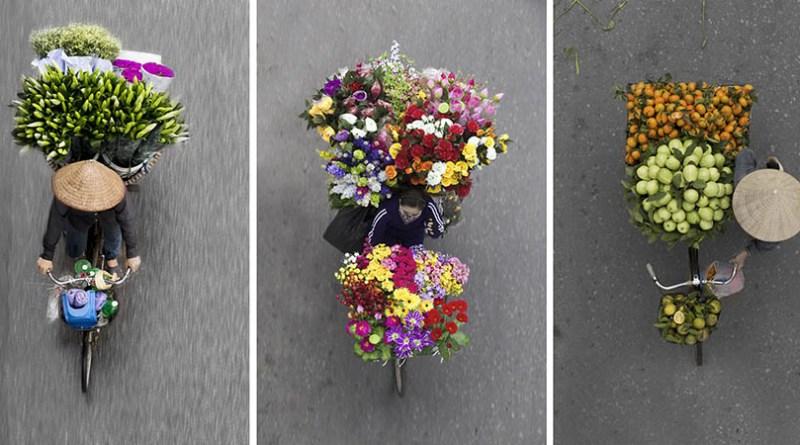 Фотограф создает необычные снимки вьетнамских торговцев на велосипедах.