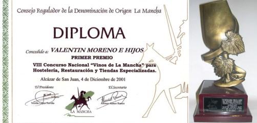 """Diploma """"Concurso Vinos De La Mancha"""". VIII Concurso para Hosteleria Restauracion y Tiendas Especializadas"""