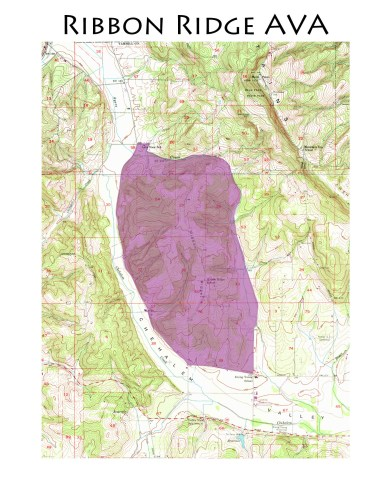 map of the Ribbon Ridge AVA
