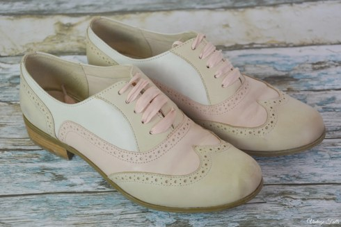 Clarks Pink and Cream Brogues