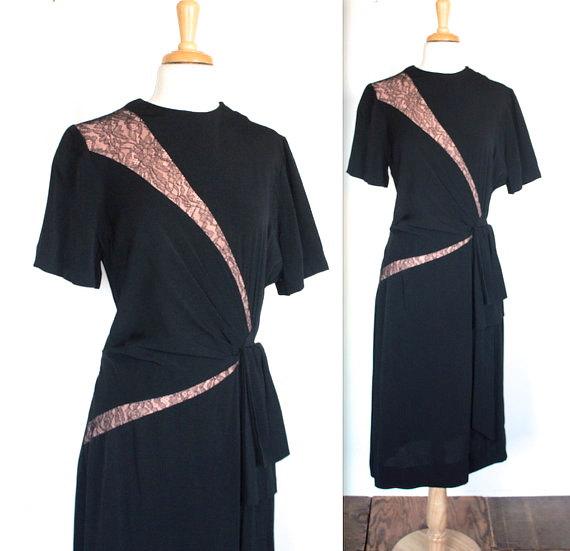 1940s Vintage Crepe Cocktail Dress