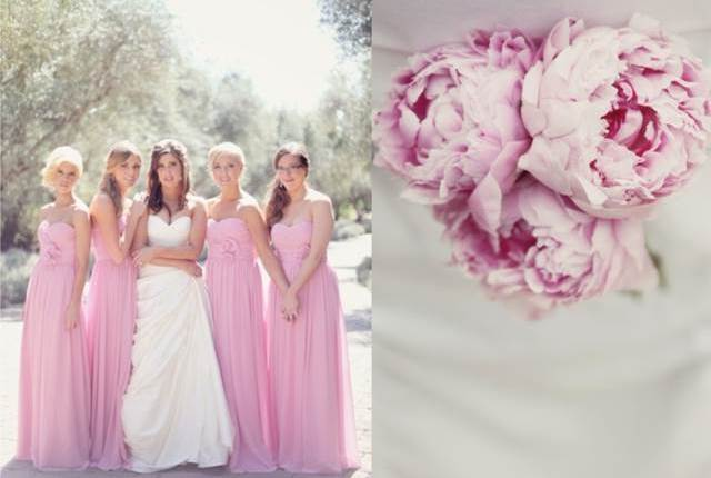Pink - pink bridesmaids dresses and peony bouquet via National Vintage Wedding Fair blog