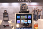 An example of the Man-Machine Connection at International CES 2014. Robots being used for advertising. A new definition of the sandwich board.