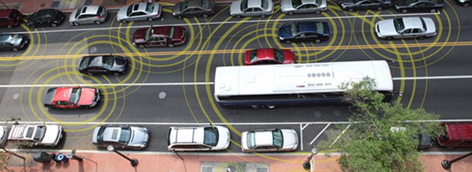 Depiction of V2V in urban area - image courtesy of U.S. D.O.T.