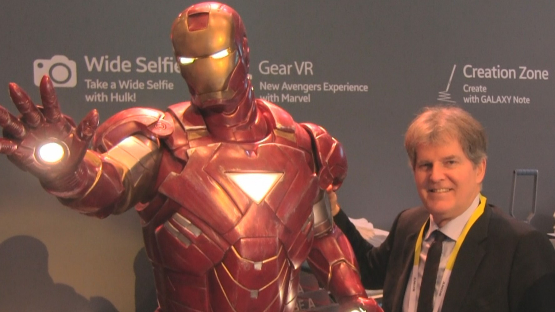 Mike and Iron Man at one of Samsung's many displays at International CES 2015.