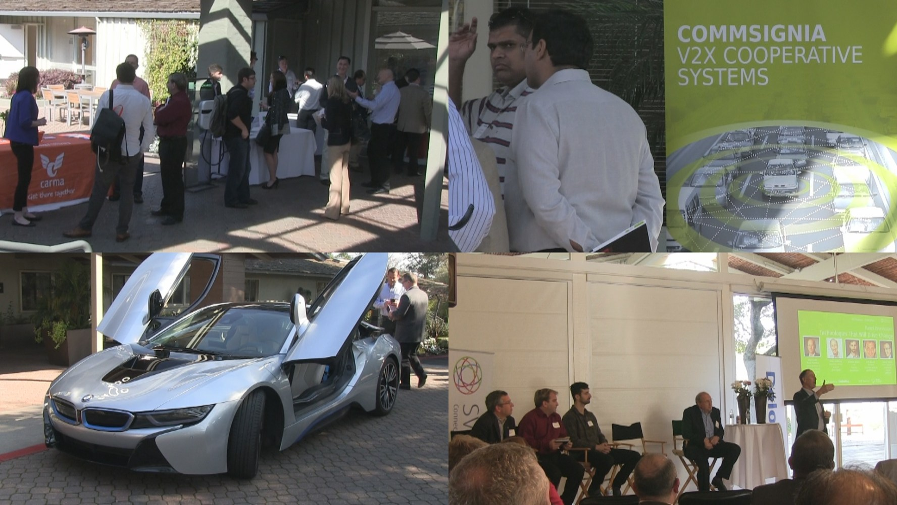 A collage of images from the SV Forum's event on the future of the car.
