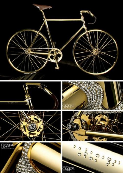 Ten unusual gold products. Gold bicycle by Dutch company Aurumania