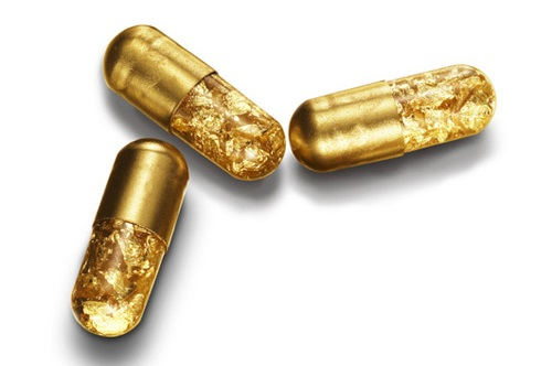 Ten unusual gold products. Golden Pills by designer Tobias Wong