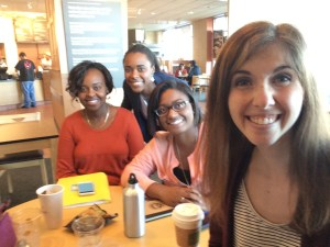 Planning at Panera (Left to Right: Ann Ondieki, Camille Moore, Ariel Greenaway, Claire Bohrer)