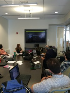 September 16, 2015: Group Meeting 5; Interns watch Chicago Crime Scene video that Machinima (Virtual World) Team has created.