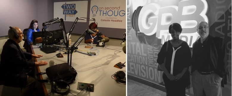 Project supervising professor Leonard Witt (left and far right), Georgia GPB Second Thoughts radio show host Celeste Headley (second from left) project student Anastaciah Ondieki (center) at GPB studio.