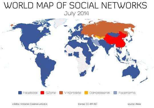 Carte des réseaux sociaux dans le monde en 2014