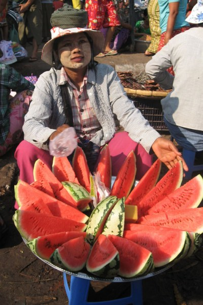Watermelon seller in Yangon, Myanmar.