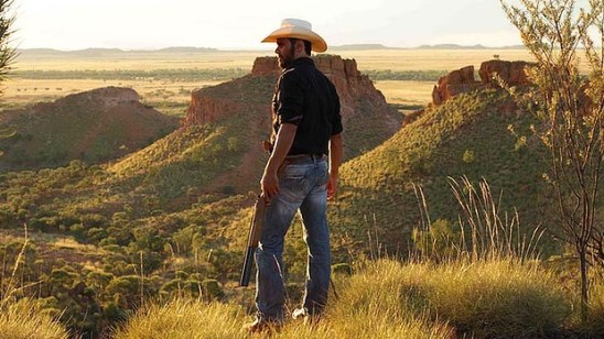 The gun toting Indigenous detective Jay Swan in Mystery Road.
