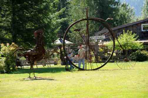 Man looks at metal art - Mt. Rainier_DD