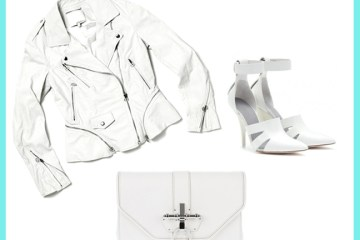 High End Option: 3.1 Phillip Lim white leather jacket, Alexander Wang white shoes, Givenchy White Clutch
