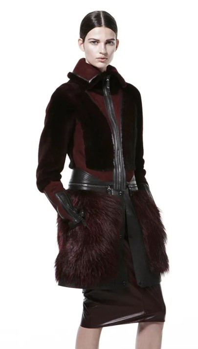 J. Mendel port shearling high collar zip waist coat