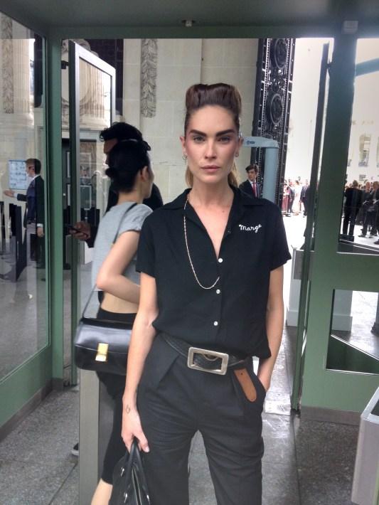 Model Erin Wasson outside Chanel Haute Couture