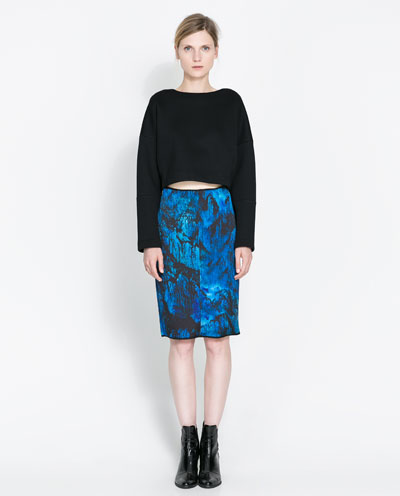Zara Printed Pencil Skirt