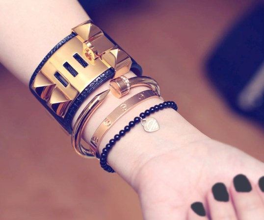 Stack your nail bracelet with other bangles