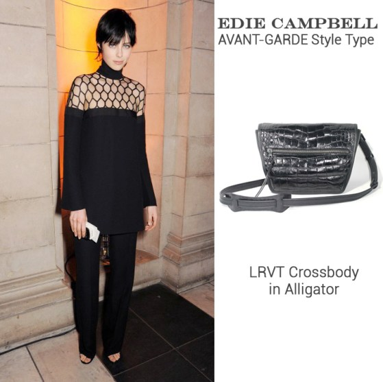Edie Campbell in Gucci + LRVT Crossbody in Alligator