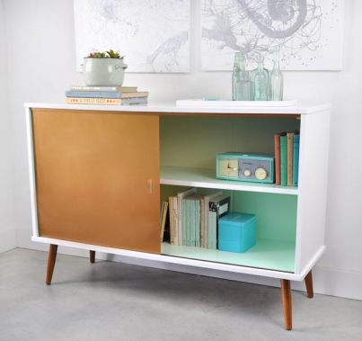styled vintage cabinet before and after