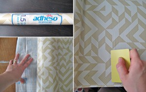 Pretty gold and white Con-Tact paper. Always use a credit card to help you smooth the paper along the way!