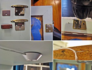 Attaching the interior lights and the hardware to turn the window into a door.