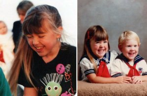 At age 7 on the left, with very noticeably blonder tips. Sailing away at age 3 on the right! Always the same hair style! lol...